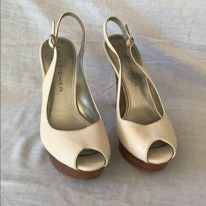 Marc Fisher white platform slingback heels